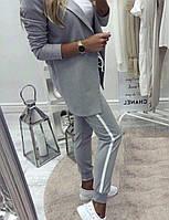 Стильный женский костюм (пиджак+штаны, цвет серый, турецкая двухнить) Размеры S,М,L (розница и опт)