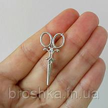 Серебряная брошь ножницы, фото 3