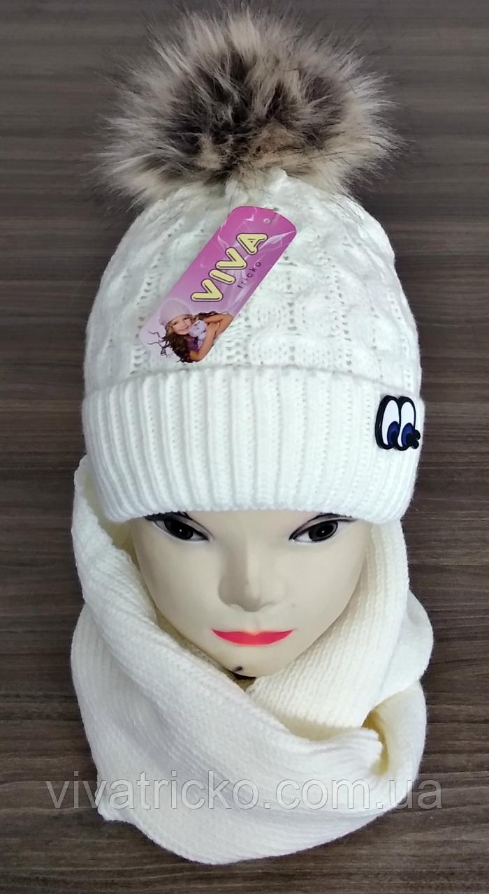 М 5068 Комплект для дівчинки шапка і хомут, кашемір, утеплювач фліс