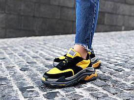 "Кроссовки женские Balenciaga Triple S 2.0 ""Black/Yellow"" / NR-BLC-005 (Реплика)"