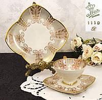 Антикварная чайная тройка, чашка, блюдце, тарелка, ALKA, Kunst Alboth & Kaiser, Германия, фарфор, фото 1