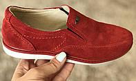 Красные подростковые замшевые туфли размеры 33,35,37