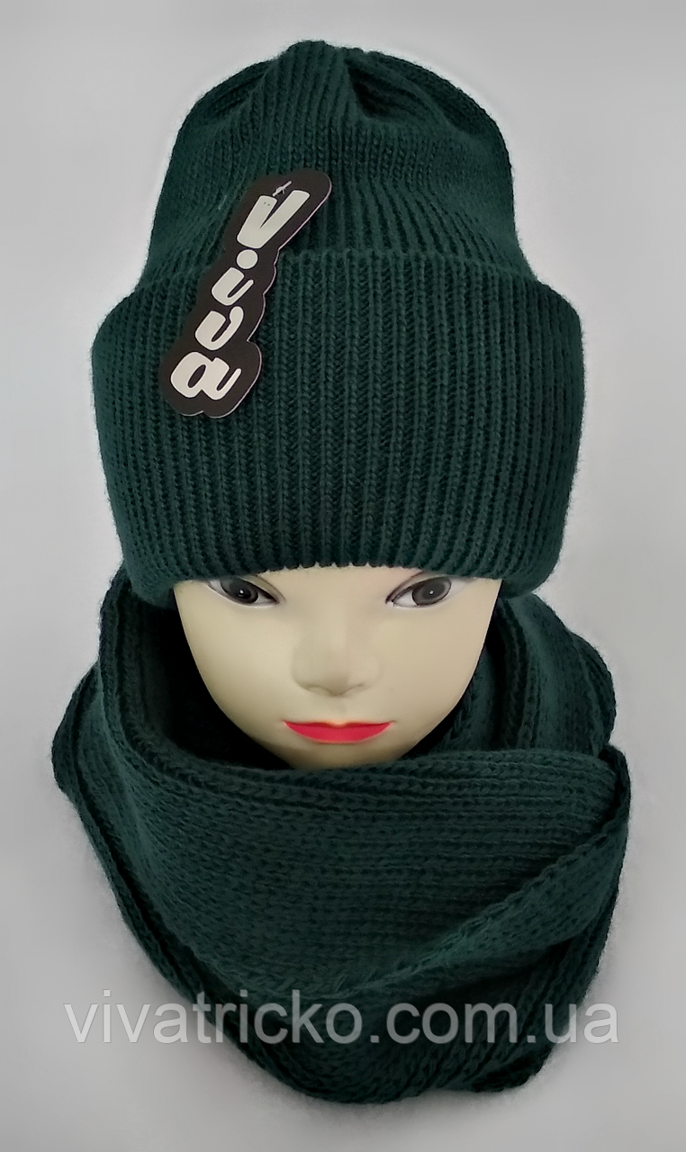 М 5072 комплект женский подростковый шапка с двойным отвротом и хомут восьмерка