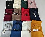 М 5072 комплект женский подростковый шапка с двойным отвротом и хомут восьмерка, фото 3