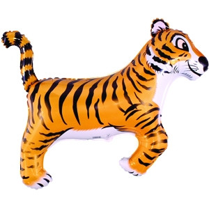Фольгированный шар Тигр 29см х 42см Оранжево-черный