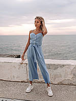 Нежный романтический комбинезон (цвет - голубой, ткань - креп костюмка) Размеры S,М,L (розница и опт