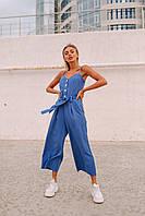Комбинезон женский (цвет- темно голубой, ткань - креп костюмка) Размеры S,М,L (розница и опт)
