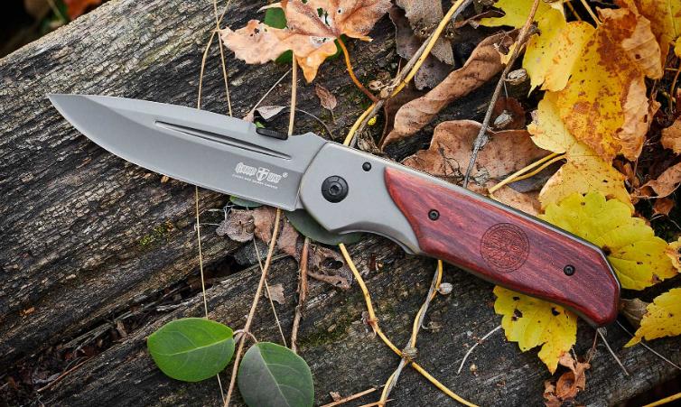 Нож складной с металлической и деревянной рукояткой, стильное антибликовое покрытие, крепкий и удобный