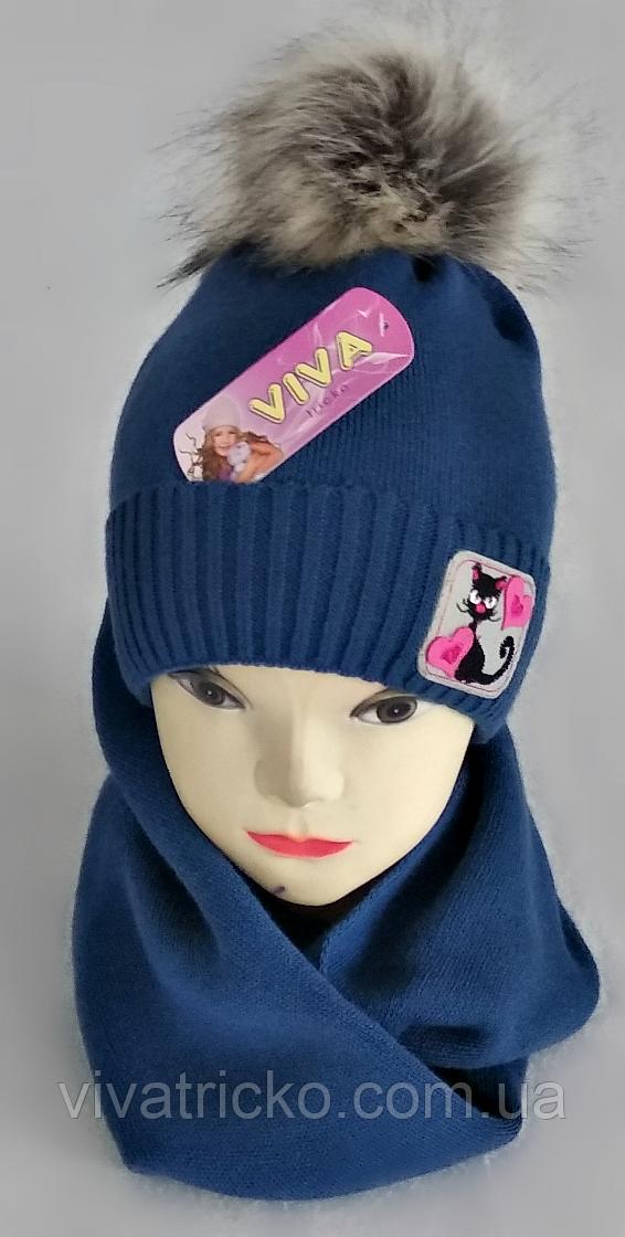 М 5077 Комплект для девочки шапка+хомут,кашемир,флис