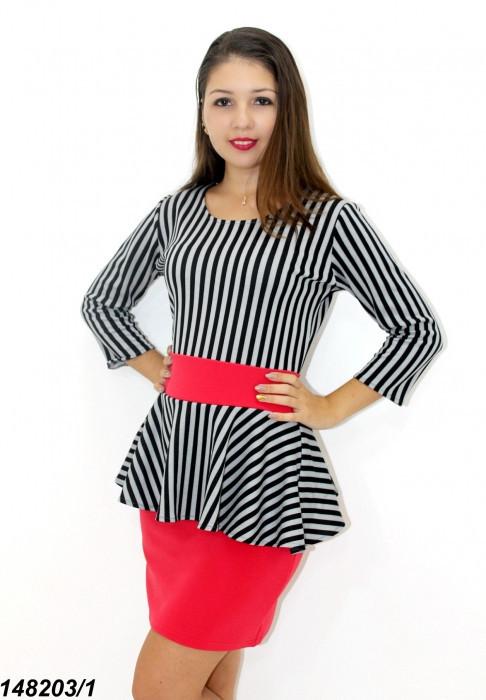 Платье с баской комбинированное,полоса+красный 42,44,46