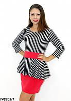 Платье с баской комбинированное,полоса+красный 42,44,46, фото 1