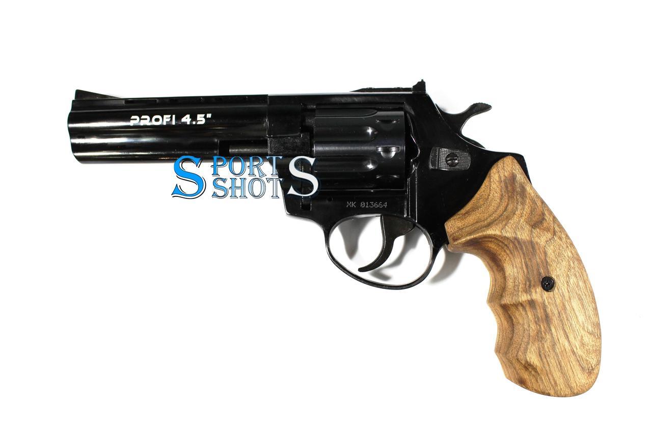 """Револьвер под патрон Флобера  Profi 4.5"""" черный дерево"""