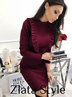 Женское осеннее платье с длинным рукавом