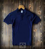 Мужская футболка-поло из хлопка синяя