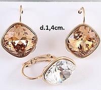 Серьги Xuping с кристаллами Swarovski в желтом цвете SJ057
