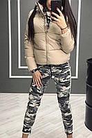 Осенняя куртка (цвет- бежевый, ткань - матовая плащёвка + силикон 200) Размеры S,М,L (розница и опт)