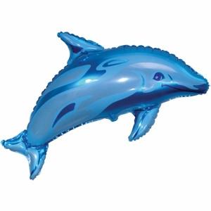 Фольгированный шар Дельфин 29см х 48см Голубой