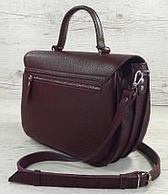 583 Натуральная кожа Сумка женская бордовая через плечо Кожаная сумка бордовая кожаная сумка женская марсала, фото 3