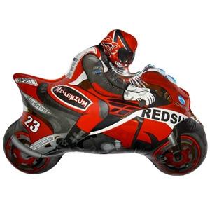 Фольгированный шар Мотоциклист 23см х 30см Красный