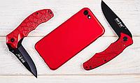 Нож складной среднеразмерный, яркий, с ярко-красными алюминиевыми накладками, фальшлезвие без заточки, фото 1