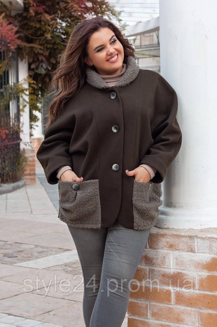 Батальна осіння куртка-пальто з кашеміра .Р-ри 52-58