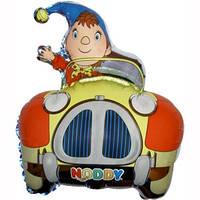 Фольгированный шар Мальчик в автомобиле 34см х 28см Разноцветный