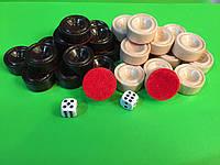 Набор деревянных лакированных фишек для нард 28 x 12 мм с бархатной подложкой, фото 1