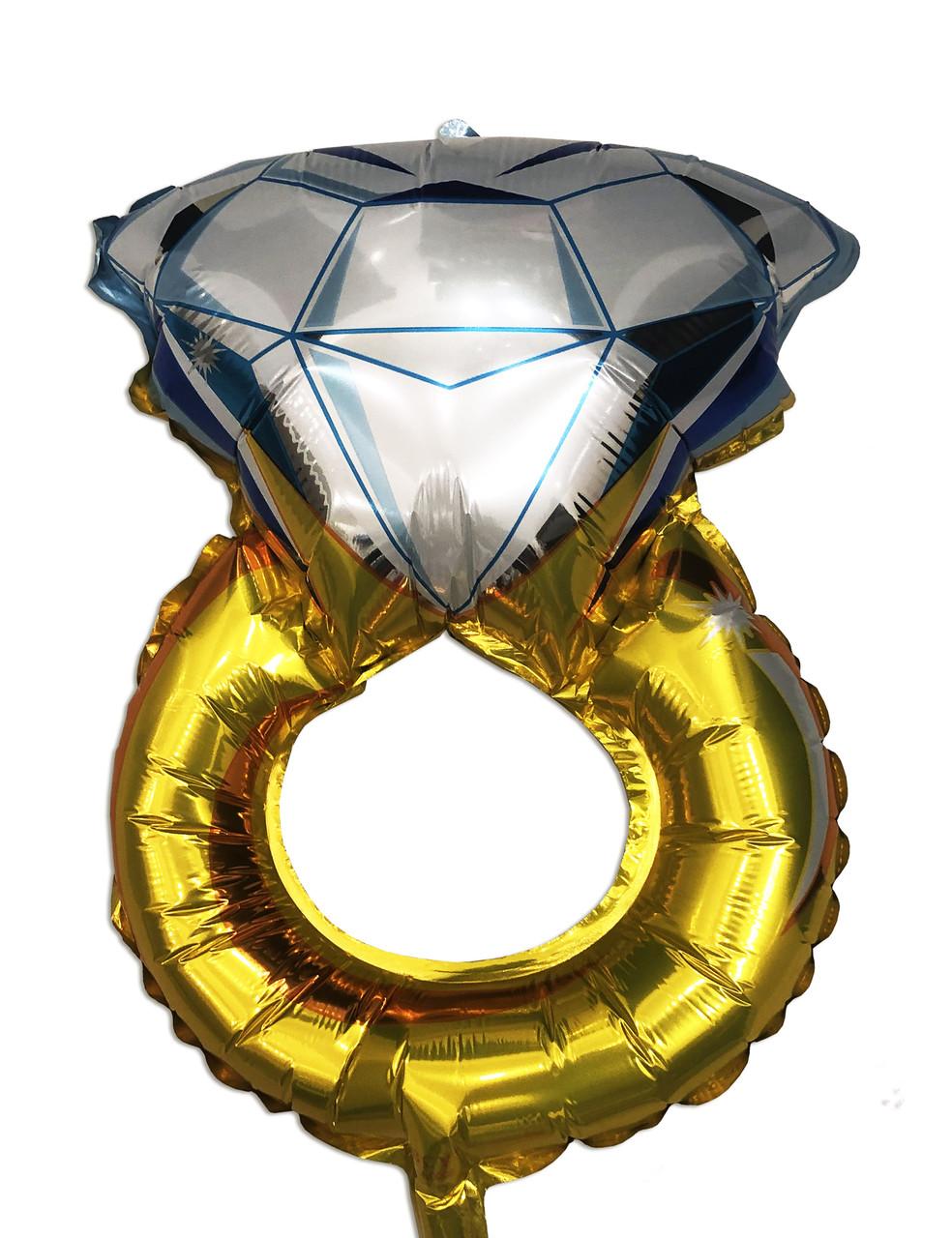 Фольгированный мини шар кольцо с бриллиантом  27х48 см