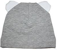 Шапка серая с белыми ушками, детская, рост 62 см
