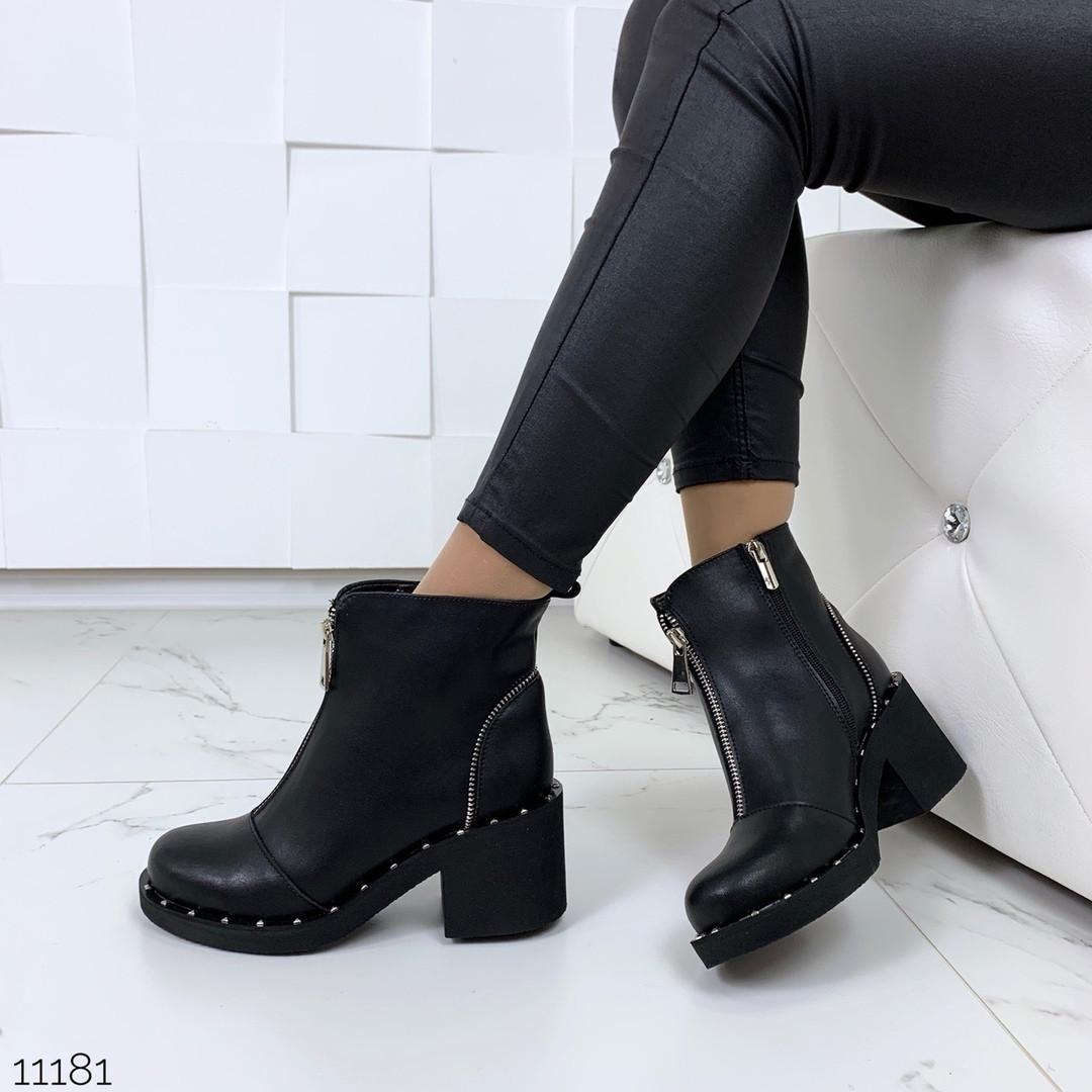 Черные ботинки на каблуке женские
