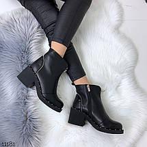 Черные ботинки на каблуке женские, фото 3