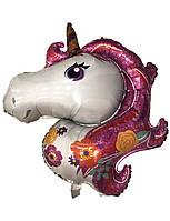 Воздушный фольгированный шар Единорог в цветах 93х114 см