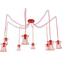"""Подвесной металлический светильник, современный стиль, loft, vintage, modern style """"SPRUT-R"""" Е27  красный цвет"""