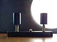 Настенный светильник, спот поворотный, потолочная лампа, на две лампы, черный цвет