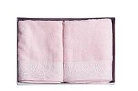 Набор махровых бамбуковых полотенец с кружевом, FLASHY (50х90) розовый и белый