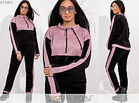 Теплий велюровий спортивний костюм жіночий LA/-003 - Рожевий, фото 1
