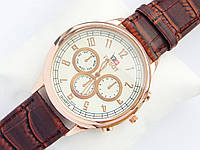 Мужские кварцевые наручные часы Tissot на кожаном ремешке, фото 1