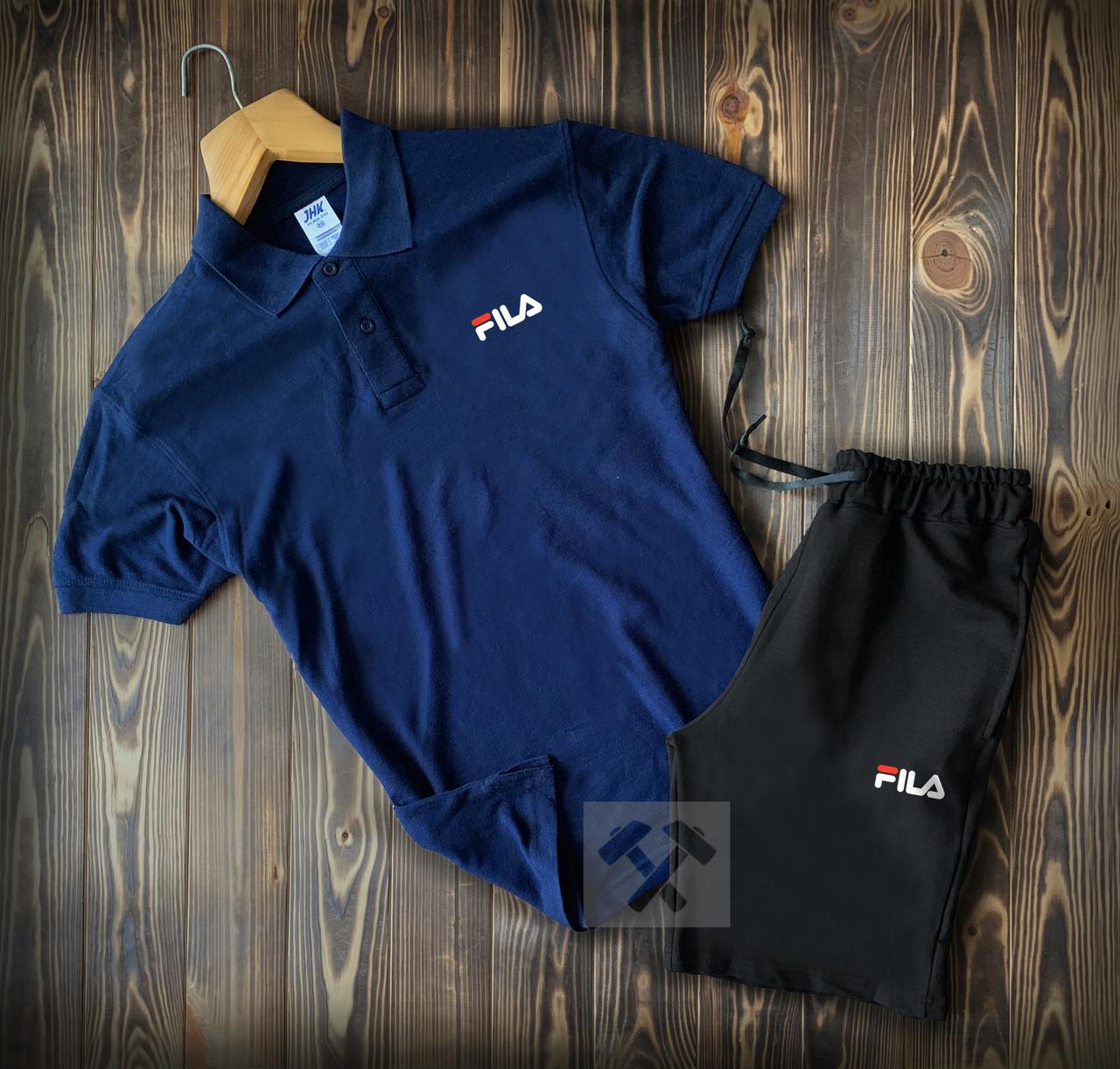 Чоловічий літній спортивний комплект Fila синьо-чорний з футболкою-поло