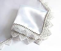 Платок со стразами люкс белый для венчания / свадьбы / крещения, фото 1