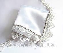 Платок со стразами люкс белый для венчания / свадьбы / крещения