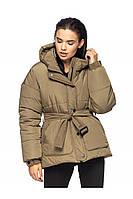 Женская зимняя дутая куртка с поясом Doreti (44–48р) в расцветках, фото 1