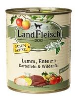LandFleisch консервы для собак с ягненком, уткой, картофелем и диким яблоком 400 гр.