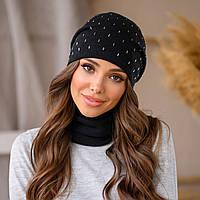 Комплект набор женская шапка и шарф снуд баф чёрный с украшением