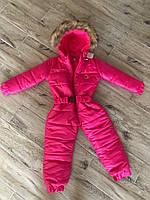 Детский зимний цельный комбинезон на флисе с натуральной опушкой, малина