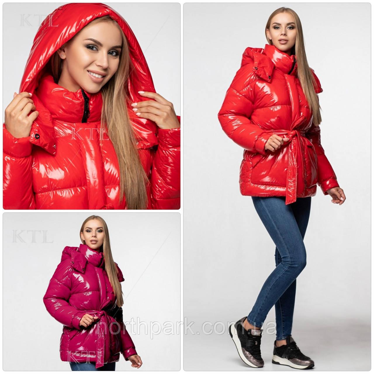 Модна лакова зимова куртка з поясом, подовжена оверсайз