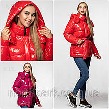 Модная лаковая зимняя куртка с поясом, удлинённая оверсайз