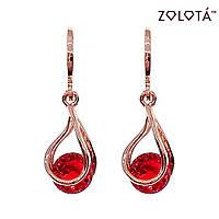 Серьги Zolota с красными фианитами (куб. цирконием), из медицинского золота, в позолоте, ЗЛ00619 (1)