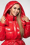 Модна лакова зимова куртка з поясом, подовжена оверсайз, фото 4