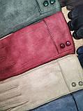 Замш с Арктический бархат перчатки стильные только оптом, фото 3