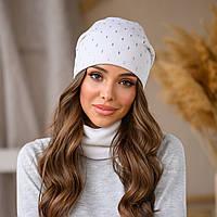 Комплект набор женская шапка и шарф снуд баф белый с украшением
